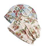 JORYEE Beanie Mütze Damen - Chemo Mütze Damen Kopftuch Hut Mütze, Frauen Slouch Beanie Mütze Weich Slouchy Turban Kopfbedeckungen Kopf Wraps, Slouch Longbeanie (2 Stück-Blumen-Beige+Blau)