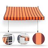Wohnstyle24 200 x 120 Klemmmarkise Fallarmmarkise Markise orange mit Handkurbel Sonnenschutz Sichtschutz