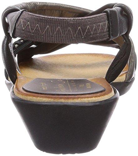 Andrea Conti 0357403287, Sandales ouvertes à talon compensé femme Multicolore - Mehrfarbig (schwarz/bronze 287)