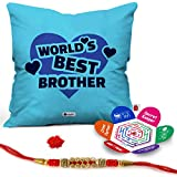 """Indigifts Raksha Bandhan Gifts for Brother Set of World's Best Bro Quote Printed Cushion Cover 16""""x16"""", Crystal Rakhi for Brother, Roli, Greeting Card - Rakhi Gifts for Brother, Rakshabandhan Gifts, Rakhi for Brother with Gifts"""