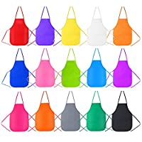 Caydo 15 Pieces Kids Aprons Middle Size for 5-10 Years Old Kids, Applied in Kitchen, Classroom, Community Event, Crafts and Art Painting Activity, 15 Colors