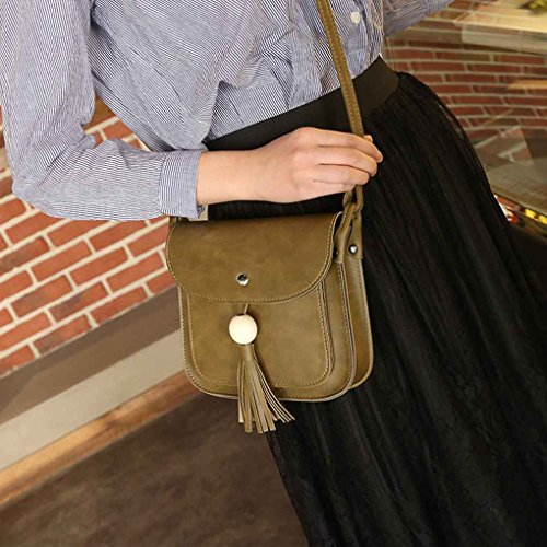 TFgirl Damen Holz Perlen Quaste Square PU Leder Schultertaschen Solid Color Messenger Bags Grau