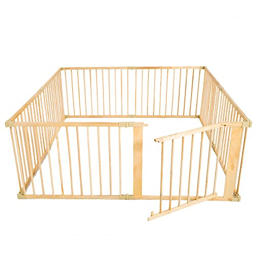 TecTake Welpenlaufstall Tierlaufstall Freigehege aus Holz für Hunde Laufstall 8 Teile