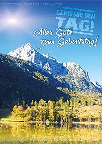 "3 Stk. A6 Postkarte, Grußkarte, Karte, Geburtstagskarte Berge, Landschaft ""Genieße den Tag. Alles Gute zum Geburtstag!"""