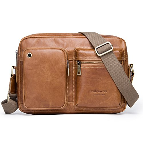Contacts Real Leather Travel Men Crossbody Messenger Shoulder Bag Office iPad Briefcase (Braun)