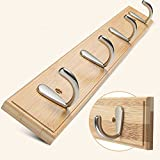Pingxia Kleiderhaken Leiste auf Natürliche Holz Bambus Panel Wandhaken Hook Rack (4 Haken)