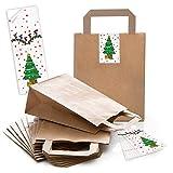 10 kleine braune Papiertüte Weihnachtstüte 18 x 8 x 22 cm + 10 WEIHNACHTSBAUM grün rot gelb Aufkleber Geschenktüte Weihnachten Geschenktasche Verpackung give-away Geschenke