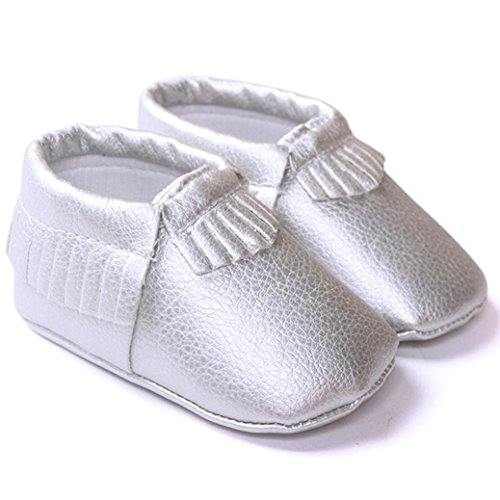 Clode® Premium Leder Lauflernschuhe Krabbelschuhe Babyschuhe weiche Sohle Krippe Schuhe Sneaker Neugeborene 0-18 Monate Weiß