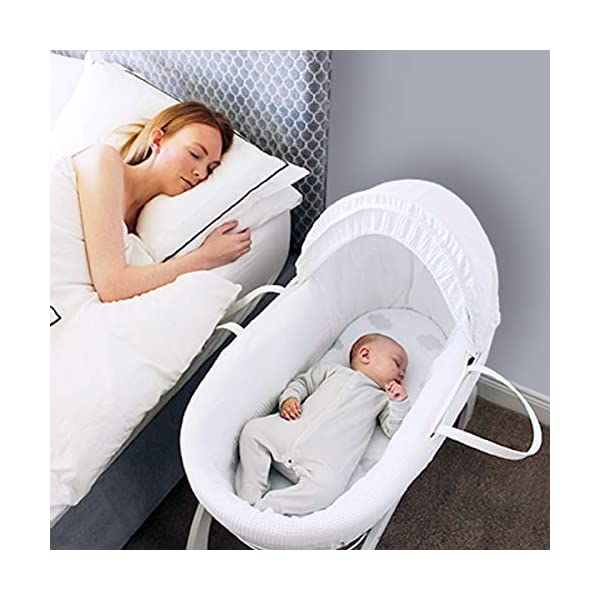 Shnuggle Moses Basket with White Waffle Cotton Dressing, Hood and Mattress - White Basket  Shnuggle Classic Moses Basket with stay up hood Hypoallergenic and easy to clean Super strong and long lasting 7