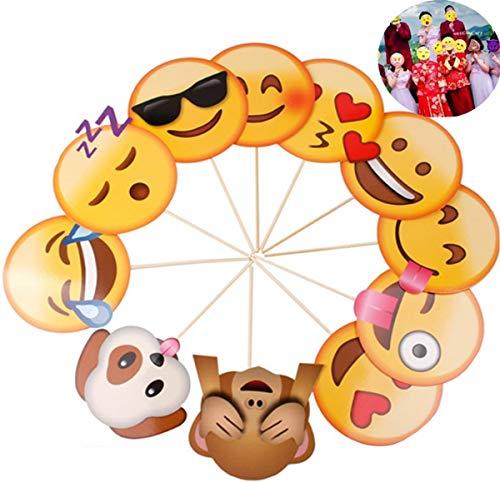 Liuer Emoji Papier Foto Requisiten, Photo Booth Props Set für Kinder & Erwachsene, Fotoaccessoires für Hochzeit Party Geburtstag Festival (27 TLG.)