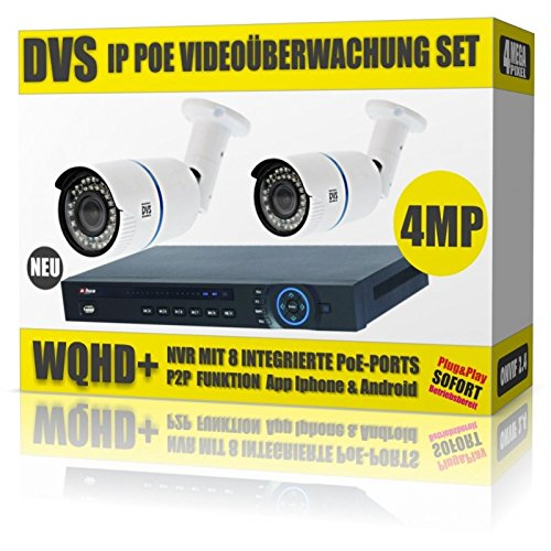 Preisvergleich Produktbild DVS Germany - 4 MEGAPIXEL PoE Videoüberwachung Set mit 2 IP PoE Kameras und PoE NVR - DVDH-IPC2SET1 - 2000GB Festplatte