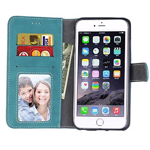 Ecoway Custodia in pelle Retro Frosted PU per iPhone 7 (4,7 zoll),Caso / copertura / telefono / involucro del modello PU con a Bookstyle tasche carte di credito funzione con interno morbido in TPU Por blu