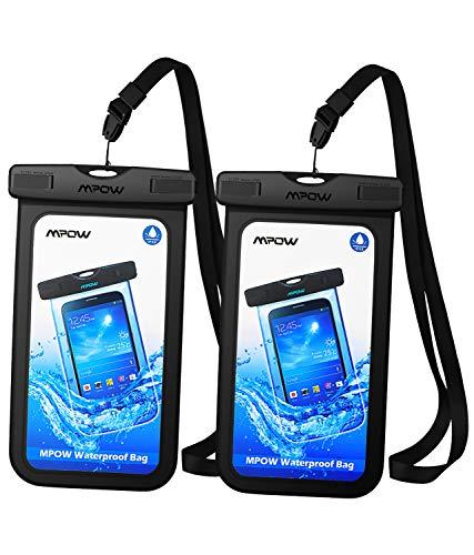 Mpow Funda Impermeable Móvil, IPX8 Bolsa Impermeable para Móvil Universal de 6.5 Pulgadas para iPhone XS/XS MAX/X/8/8 Plus/7/7 Plus,P9/P10, BQ Aquaris,Sony,Galaxy S9/S8/S7(Negro)