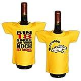 Lustiges Geschenk zum 18.Geburtstag Mini T-Shirt für Flaschen : / Bin 18 Single / Kuh -- 2 er Set Goodman Design®
