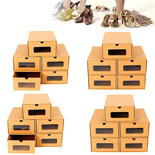 ox Schuhkarton pappe Schuhaufbewahrung Schuhschachtel Sortierbox DIY Shoe Box Stapelbox Mit Deckel (20 Boxen) ()