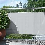 Floracord 12-75-50-07 qualità Balcone bordatura realizzata in tessuto poliestere 75 x 500 cm e accessori per il montaggio, grigio argento