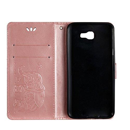 Für Samsung Galaxy J3 Prime Premium Leder Schutzhülle, weiche PU / TPU geprägte Textur Horizontale Flip Stand Case Cover mit Lanyard & Card Cash Holder ( Color : Brown ) Pink