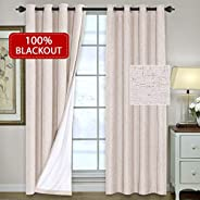 H.VERSAILTEX 100% Blackout Patio Door Linen Curtains for Sliding Door- Extra Long and Wide Blinds Thermal Insulated Waterpro