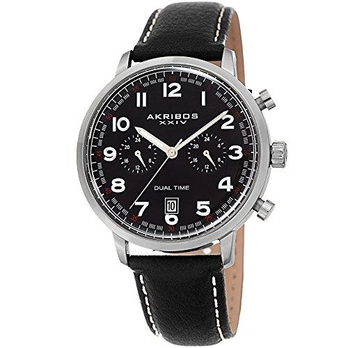 Akribos XXIV Montre pour Homme en Cuir–Multifonctions Dual Time chronographe–Noir décontracté à Montre-Bracelet avec Cadran Sunray–Ak1023bk