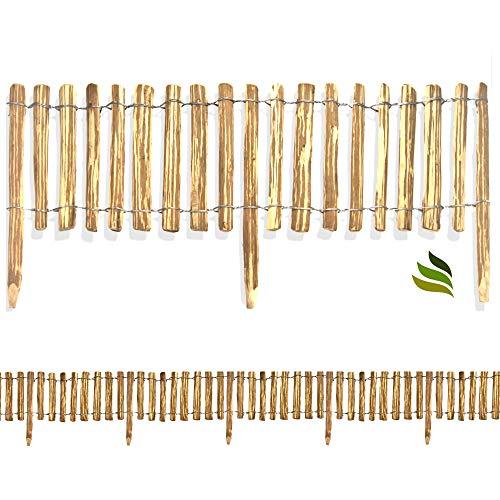 Floranica® Rollzaun aus Haselnuss Holz in 8 Größen, Integrierte Pfosten, imprägnierter getackerter Steckzaun, gut gespaltene Staketen sichere Spitzen, Lattenabstand:4-6 cm, Größe:50 cm / 500 cm lang