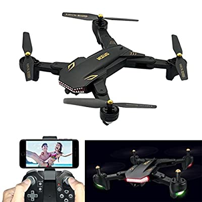 Drones for Adults Beginner,Diadia Upgrade VISUO XS809HW 2.4GHz Dual GPS FPV Drone Quadcopter Headless Mode with Adjustable Wide-Angle 720P HD WIFI Camera - Altitude Hold,Cool Shark Appearance from Diadia