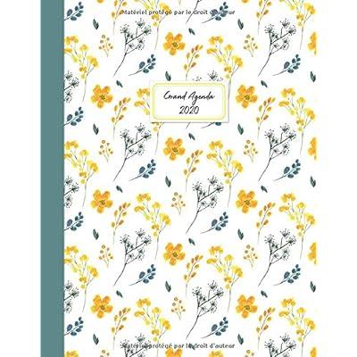Grand agenda 2020: Agenda de Janvier 2020 à Décembre 2020, Semainier grand format 21x28cm, simple & graphique, idéal prise de rendez-vous, série noir & blanc, motif fleuri rétro jaune et vert