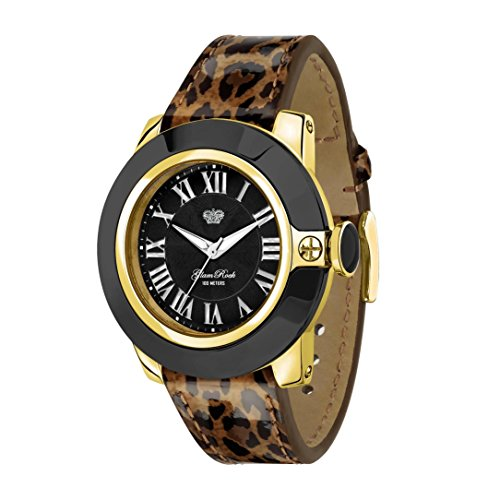 Glam Rock Women's 44mm Multicolor Leather Band Gold Plated Case Swiss Quartz Black Dial Watch GR32026