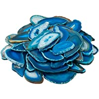 mookaitedecor 10pcs Blue Agate Slices Pendants for Jewellery Making,Drilled Geode Slice Crystals and Gemstones for Healing