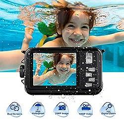 Unterwasserkamera HD 1080P 24.0MP Unterwasser Kamera zum Schnorcheln 2,7 Zoll TFT-LCD Dual Screen 3,0 Meter Kamera Wasserdicht Vollständig versiegelt, Schwarz