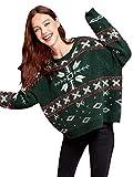 DIDK Damen Weihnachtspullover Sweater Langarm Pullover Pulli Merry Christmas Rentier Weihnachten Strickpulli Jumper Grün M