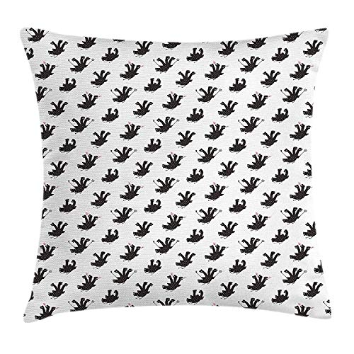 VVIANS Dragon Throw Pillow Cushion Cover, Three-Headed Humorous Dragon Sketch in Black And White Selfie Stick Fire-Spewing, Decorative Square Accent Pillow Case, 18 X 18 Inches, Black White