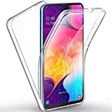 AROYI Samsung Galaxy A50 Case 360 Degree Protection Phone Case, Silicone Clear Cover [2 in 1 Hard PC Back + Soft TPU Front] Case for Samsung Galaxy A50