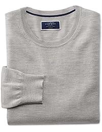 Silver Merino Wool Crew Neck Jumper by Charles Tyrwhitt