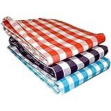 SHARABANI Hand Loom 100% Pure Cotton Bath Checks Towels 65 inches /31 inches, 2.7 feet / 5.5 feet, 80 cms / 165 cms Pack: 3 Multi Color