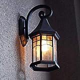 Wandleuchte E27 Retro Outdoor Wand Wasserdicht Garten Beleuchtung Balkon Außentreppe Wandleuchte (Farbe: Schwarz) (Farbe : Schwarz)