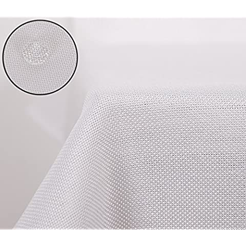 Deconovo Lino Look Mantel Rectangular Impermeable 130 X 220 Cm Blanco
