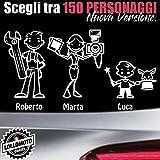 StickMan© 2.0 Bianchi e Neri Adesivi Famiglia Auto Moto Camper Stickers Family Vetro Macchina Nuova Versione Decal - 5 Personaggi