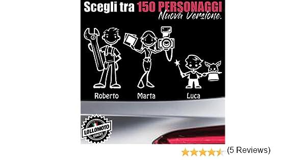 5 Personaggi StickMan/© 2.0 Bianchi e Neri Adesivi Famiglia Auto Moto Camper Stickers Family Vetro Macchina Nuova Versione Decal