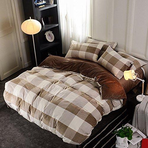 DACHUI Herbst und Winter gepolsterte warmen Doppelseitige crystal samt Continental Bettwäsche Betten, großen braunen Raster, 200 * 230 cm (Braune Tröster)