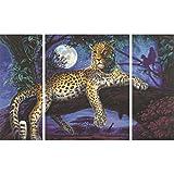 Afrika - Jäger in der Nacht Malen nach Zahlen Schipper 80 x 50 cm Triptychon