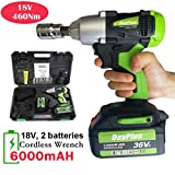 18V Cordless Impact Wrench Gun with 2 Batteries - 6.0Ah Rechargeable, 460Nm Torque