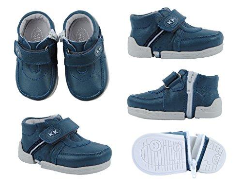 Lauflernschuhe einfach anzuziehen, sehr bequem aus echtem Leder (19-20, blau) blau