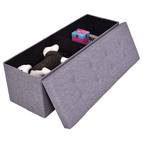 COSTWAY Sitzhocker mit Stauraum Sitzbank Sitzwürfel Sitzbox Aufbewahrungsbox Ottomane Sitztruhe Hocker Bank Truhe Faltbar Farbwahl Leinen 110 x 38 x 38cm (Hellgrau)