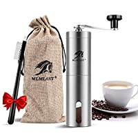 MLMLANT Manual Coffee Grinder, Stainless Steel Coffee Bean Grinder, Adjustable Ceramic Conical Burr, Hand Crank Mill, Perfect for Home, Office and Travelling.