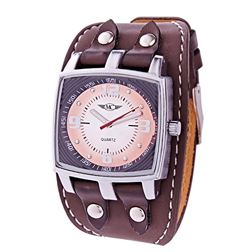 Herren Analog Armbanduhr Armband Kunstleder gesteppt–Zifferblatt Rechteck–Marke Ernest–A262 (Gesteppte Armband)