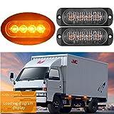 FEZZ Auto LED Blinker Warnleuchte Stange Blitzlicht Notfall Alarm Licht Warnblinkleuchte 4 LED Gelb für Fahrzeug LKW Anhänger Caravan