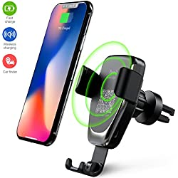 Wireless Car Charger Phone Mount, 2 in 1 Car Air Vent&Dashboard Universal Phone Holder Mount With Car Finder for iPhone X iPhone 8/8 Plus,Samsung Galaxy Note 8/S 8/S 8+/S 7/S 6 Edge+/Note 5 and Other QI-Enabled Smartphone Devices