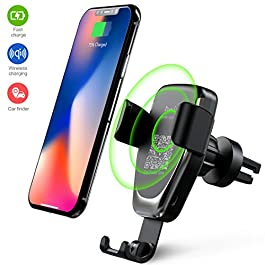 Heiyo Wireless Car Charger Mount,Qi Fast Charger Car Vent Phone Holder,10W Car Chagrer Mount Compatible with Samsung Galaxy S10/S9/S9+/Note 9/S8/S8+/Note 8,iPhone X/XR,5W for iPhone X/iPhone 8/8 Plus