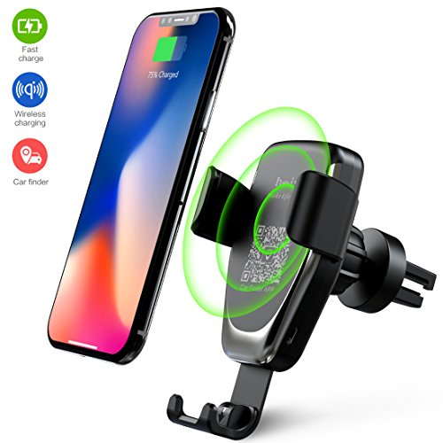 Cargador Inalámbrico Coche, Qi Cargador Wireless con Soporte de Teléfono de Coche, Carga Rápida Cargador de Coche Soporte Móvi Aplicable a Rejillas del Aire para iPhone X / XS / XR / XS MAX iPhone 8 / 8 Plus, Samsung Galaxy Note 8 / S 8 / S 9 / S 9+ / S 8 + / S 7 / S 6 Edge + / Note 5