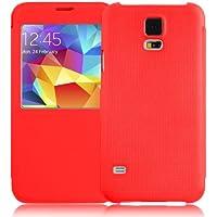 Samsung Galaxy S5 / S5 Neo / S5 Plus Hülle | JAMMYLIZARD Fenster Flip Case Cover Rundumschutz Etui mit Magnetverschluss, Rot
